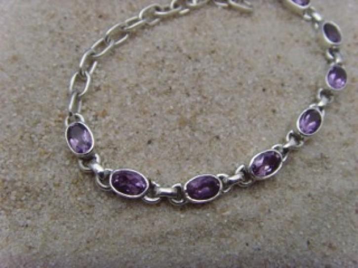 Armband - facettierter Amethyst - 925'er Silber
