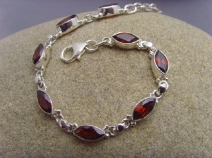 Granat - Armband - Navette Form - 925'er Silber