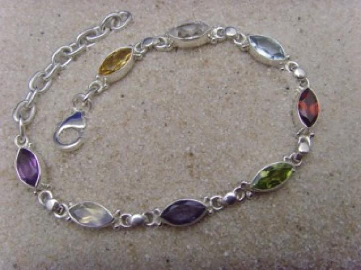 Armband Navette - multicolor - 925'er Silber