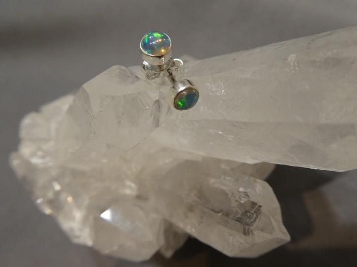 Ohrstecker-Opal / rund / 925'er Silber