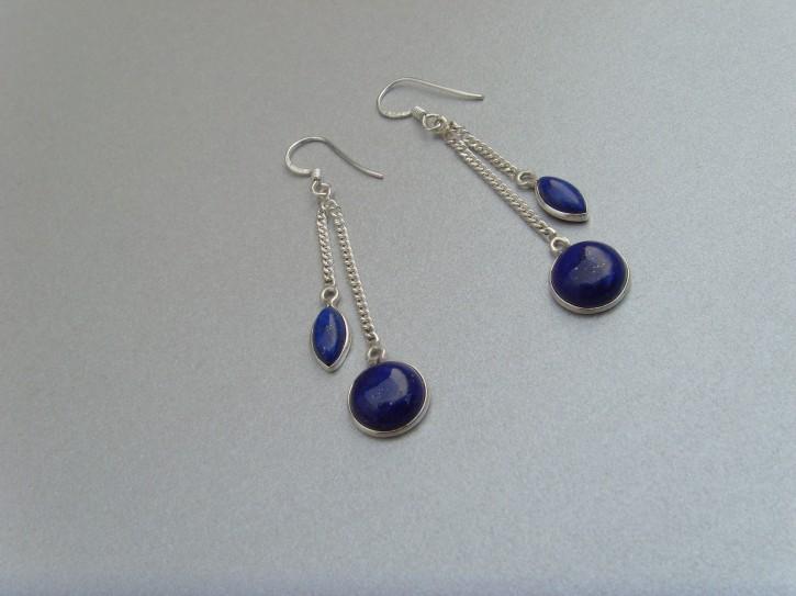 Ohrhänger-Lapis-Lazuli / elegante Form - 925'er Silber