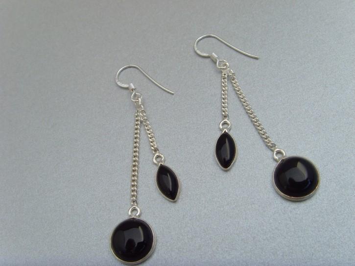 Ohrhänger-schwarzer Onyx / elegante Form - 925'er Silber
