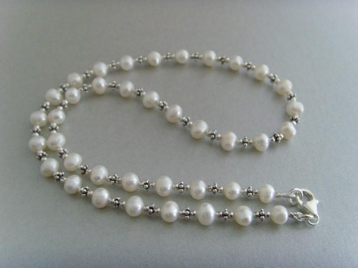 Süßwasser - Perlenkette mit Silberelementen aus 925'er silber