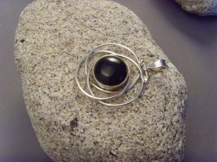 Onyx-Anhänger 3 Ringe - 925'er Silber