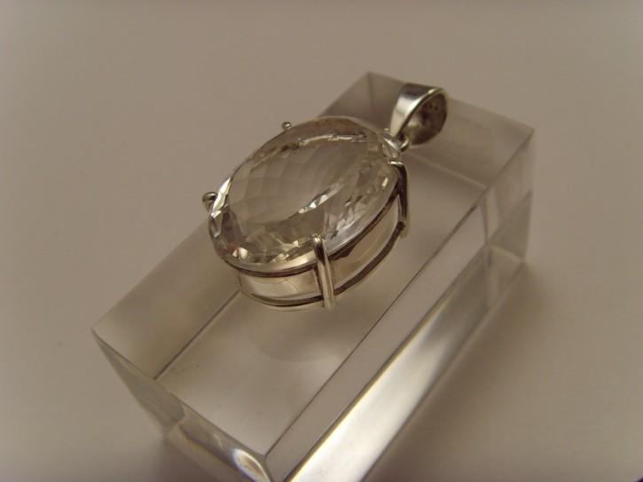 Bergkristall-Anhänger / 925'er Silber / ovale Form