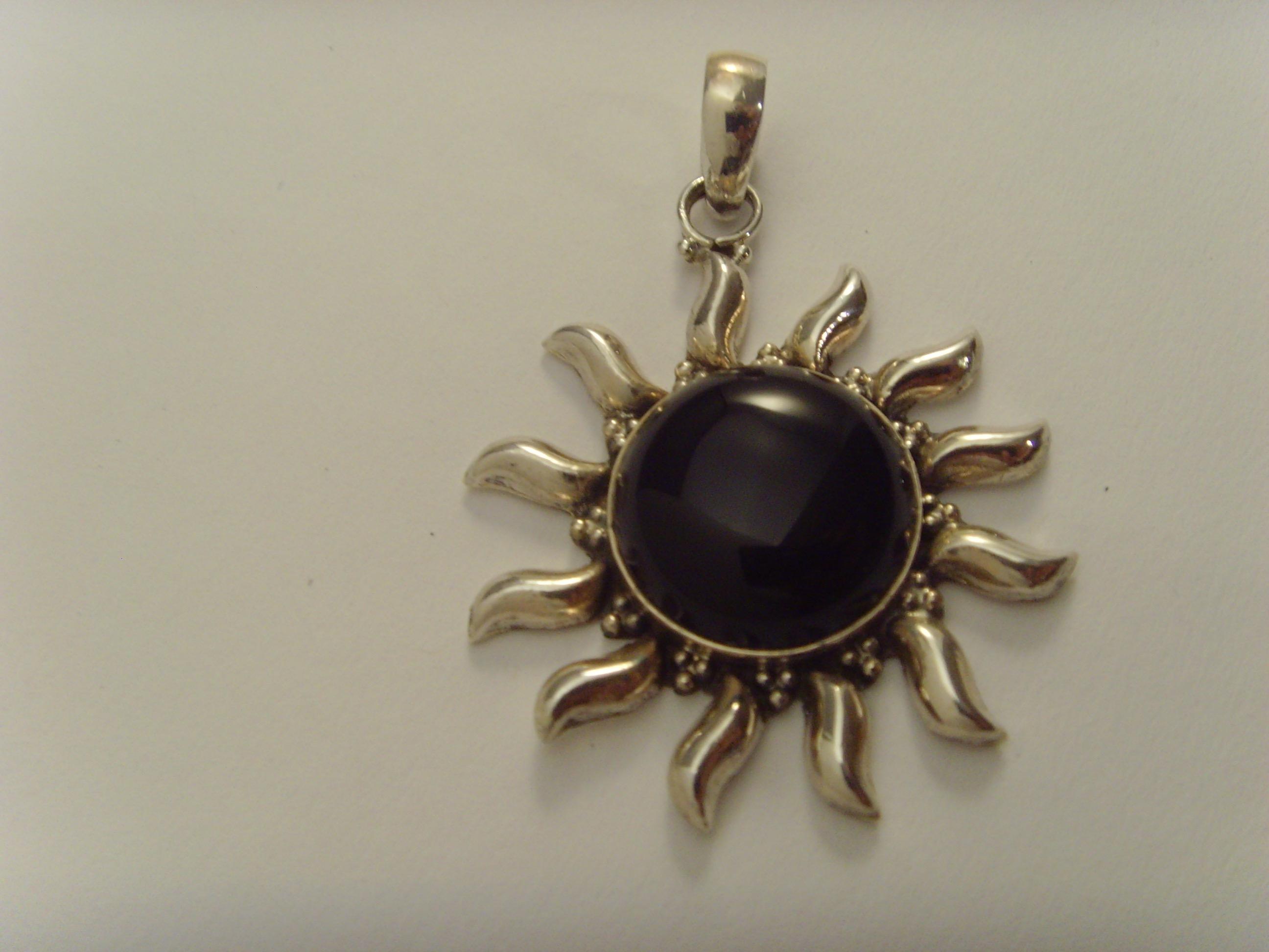 Inka-Sonne / 925'er Silber / schwarzer Onyxstein
