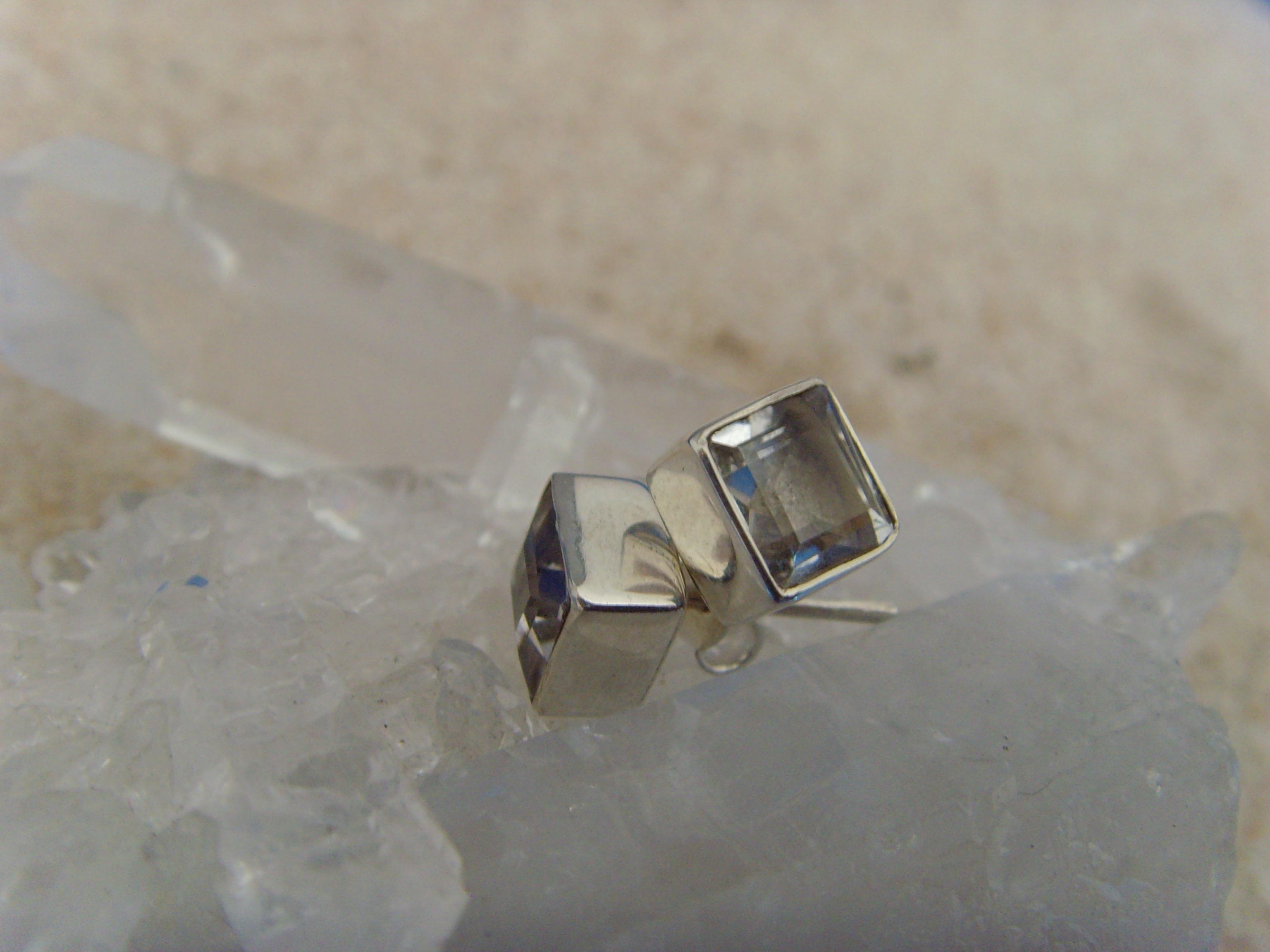 Ohrstecker-Bergkristall / facettiert - quadratisch - 925'er Silber