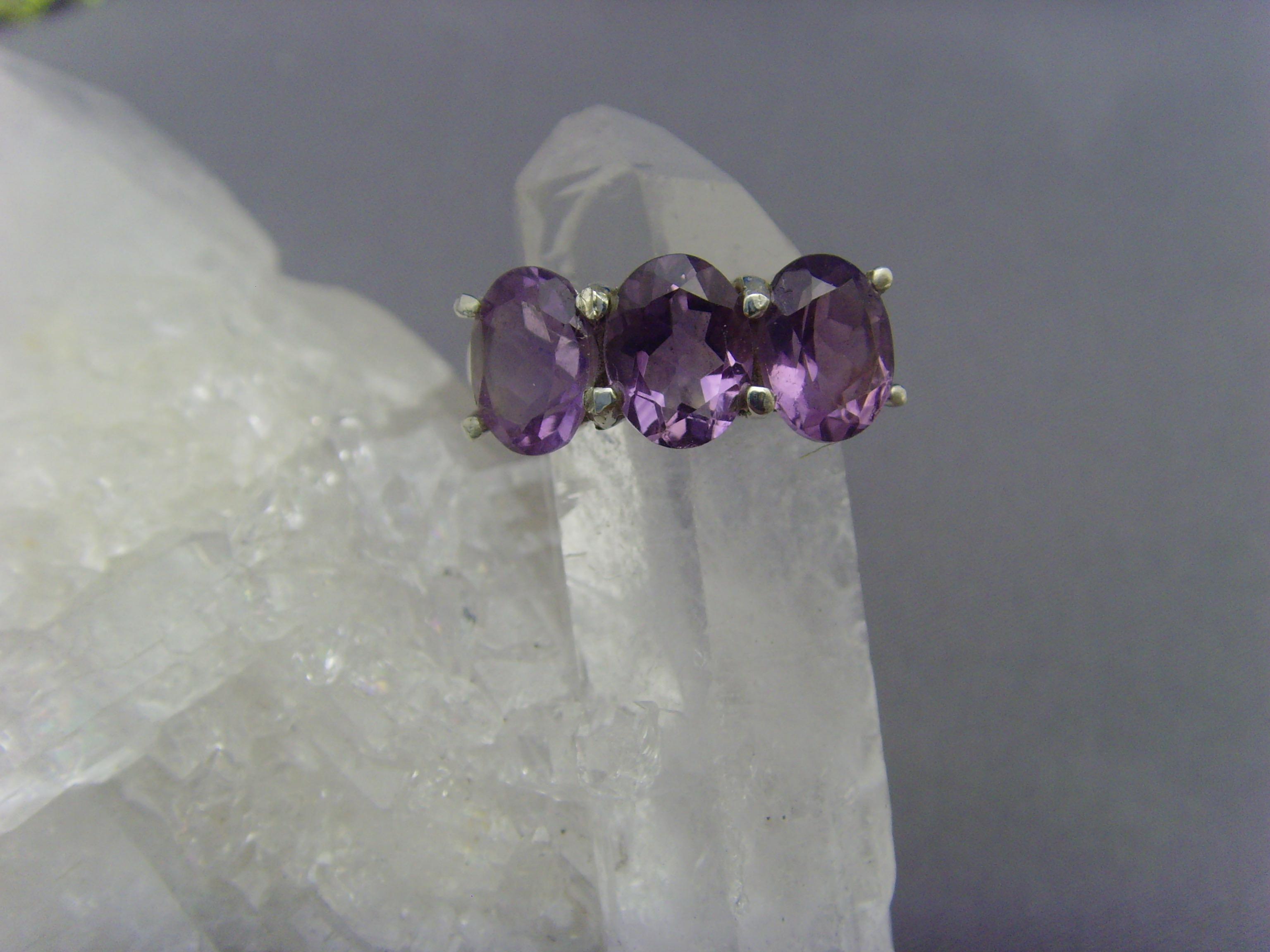 Amethyst - Ring / 925er Silber / Facettenschliff