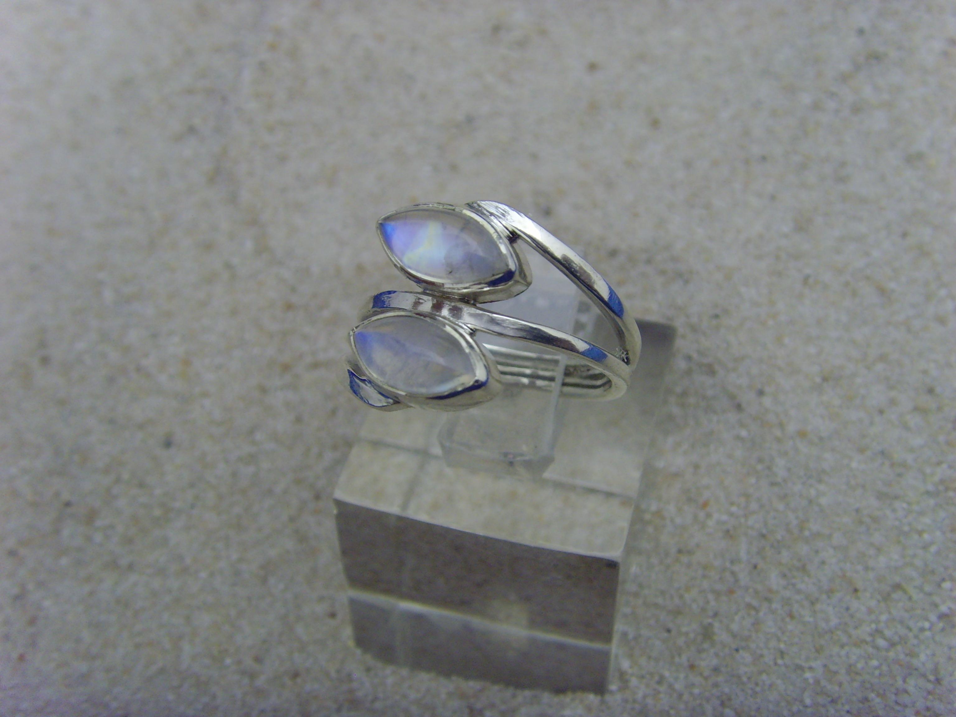 Mondstein - Ring / 925'er Silber / Navettenform