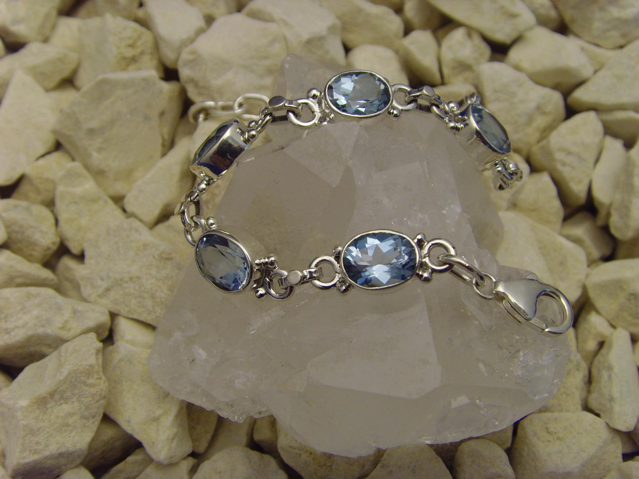 Blautopas - Armband / 925'er Silber