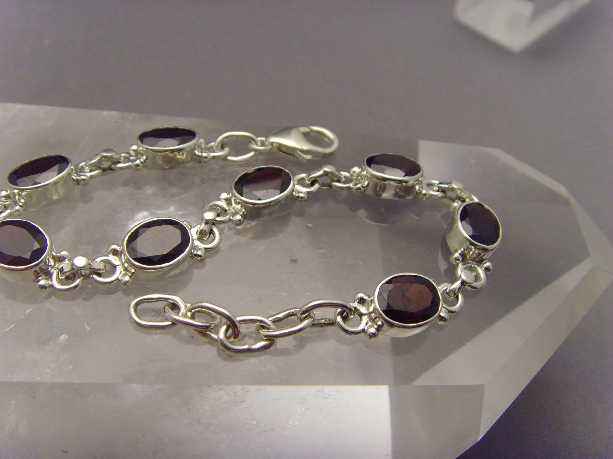 Granat - Armband / Silber 925