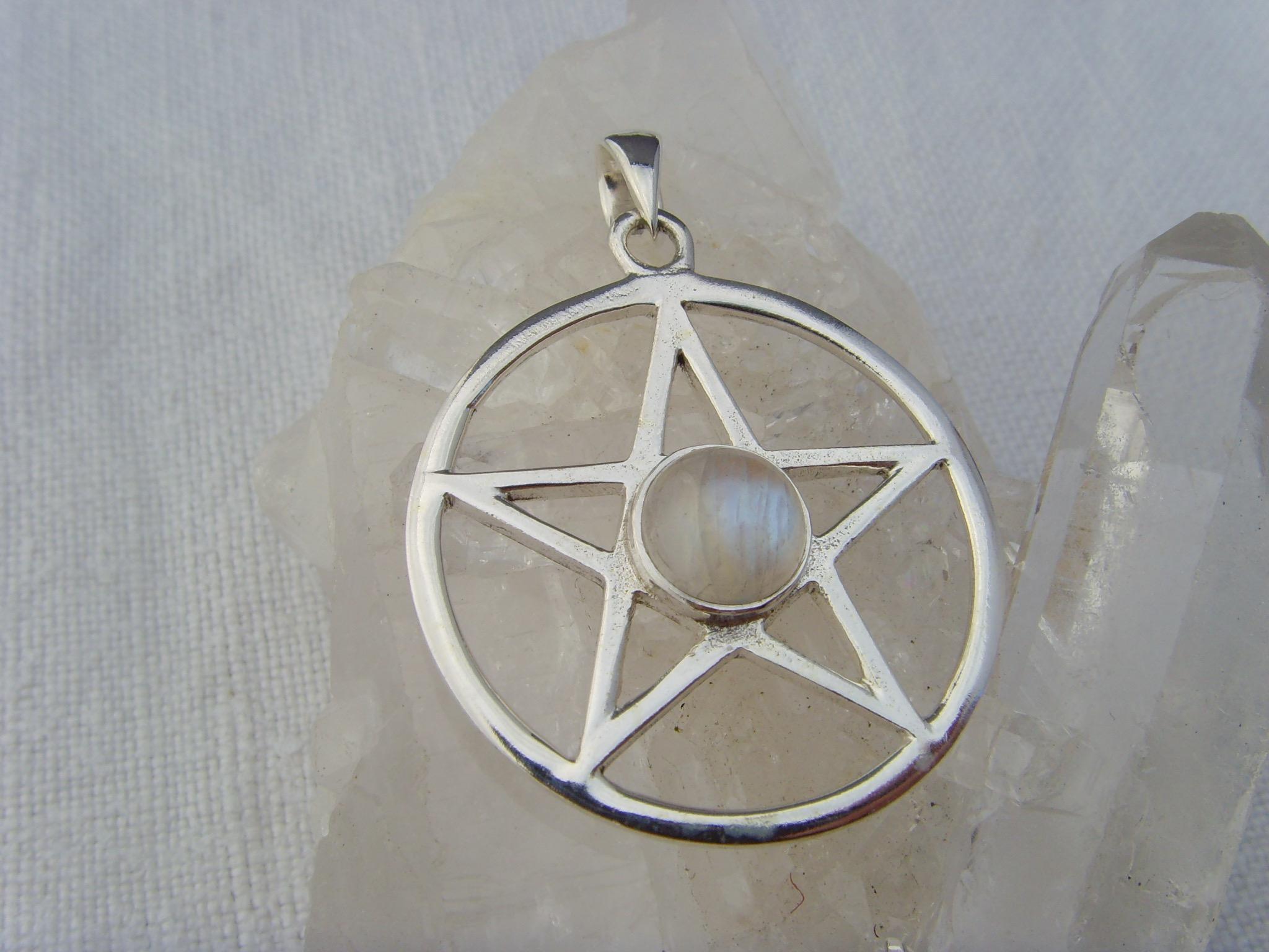 Pentagramm - Mondstein / 925'er Silber