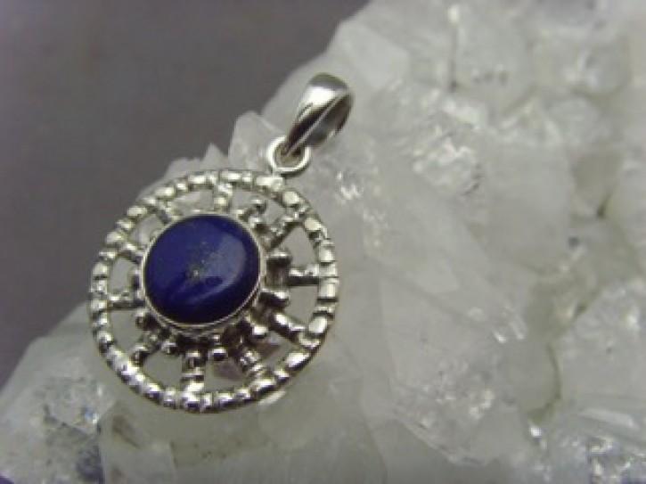 Lapiz-Lazuli Anhänger - 925'er Silber - rund
