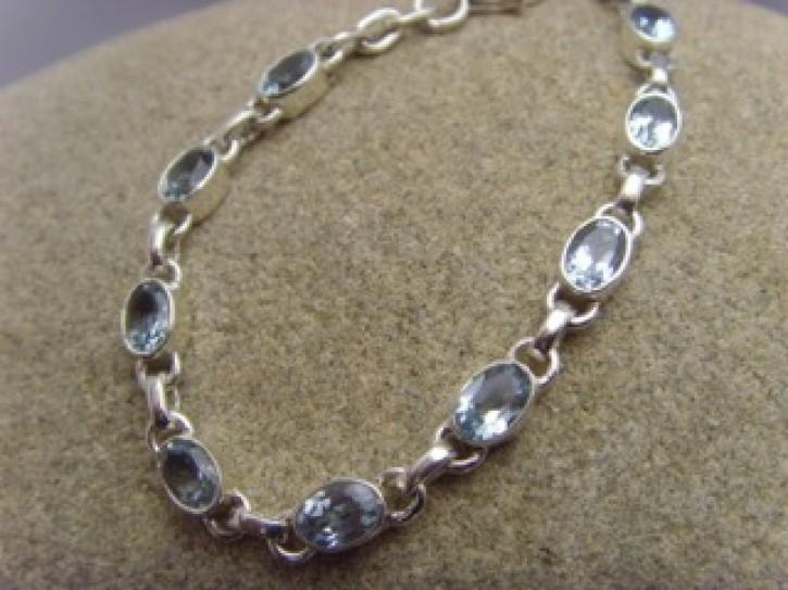 Armband - facettierter Blautopas - 925'er Silber