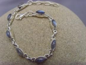 Armband Navette - Labradorit - 925'er Silber