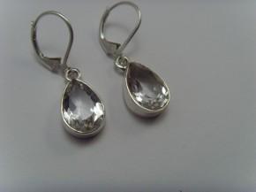 Bergkristall-Ohrhänger / 925'er Silber / Tropfen-Form