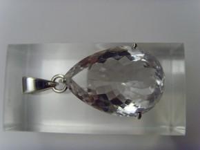 Bergkristall-Anhänger / Tropfenform / 925'er Silber