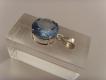 Blautopas-Anhänger / 925'er Silber / runde Form