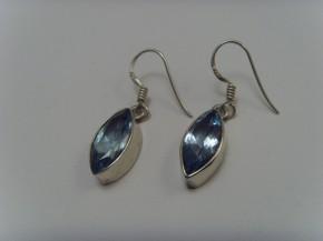 Blautopas-Ohrhänger / 925'er Silber / Navetten-Form