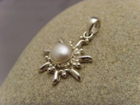 Inka Sonne / 925 er Silber / echte Zuchtperle